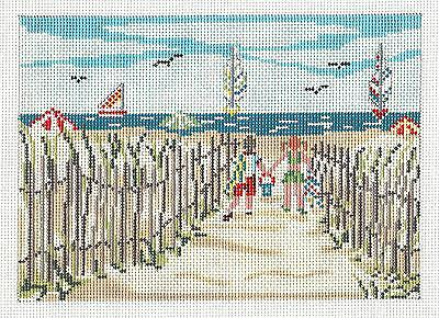 *NEW* Children Going To The Beach handpaint Needlepoint Canvas Needle Crossings