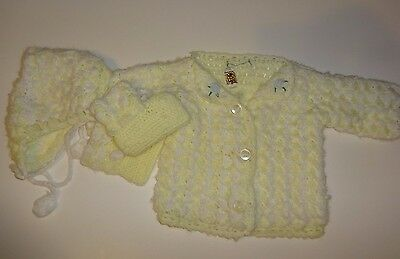 Vintage Baby Yellow & White Knit Sweater, Hat, & Booties Celebrity Knitwear