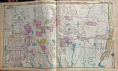 1914 Atlas Map Copy Freeport Merrick Bellmore Wantagh Nassau Long Island Ny
