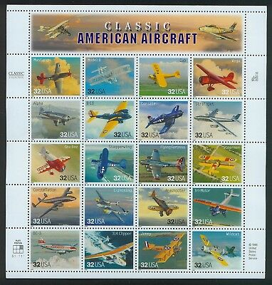 Classic American Aircraft Sheet of Twenty 32 Cent Stamps Scott 3142a By USPS
