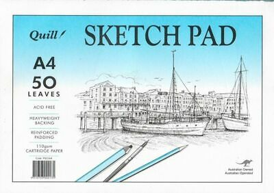Quill Sketch Art Pad A4 100gsm Cartridge Paper 5 Pack 50 Leaf Acid Free