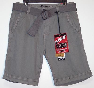 068a1f6a74 NWT Men's Plugg Belted Casual Shorts Size 30 32 Zinc Gray 100% Cotton