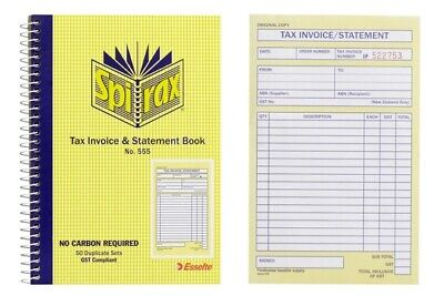 Spirax NO.555 A5 Tax Invoice & Statement Book Duplicates 50 Leaf Carbonless