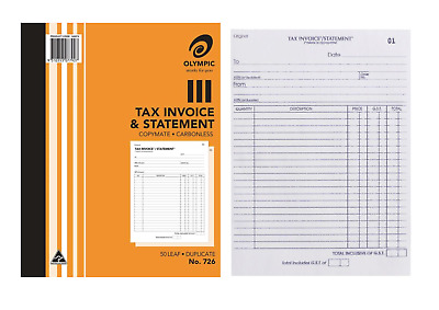 """10 X Olympic 726 Tax Invoice & Statement Book  10"""" X 8"""" Duplicate Carbonless"""