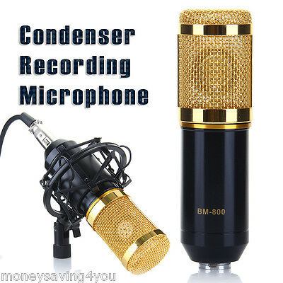 Condenser Microphone Recording Mic with Shock Mount for Voice-over Studio Sound