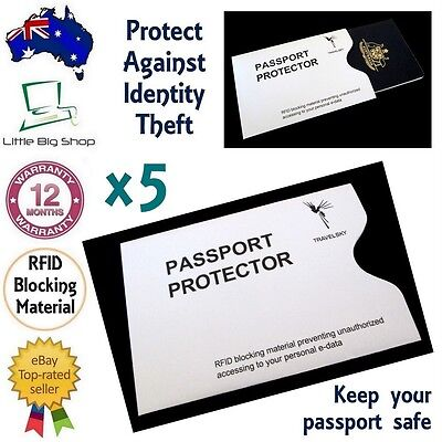 5 x New Passport Protector RFID Blocking Security Sleeve Anti-Theft Defender