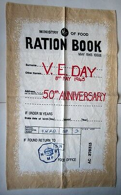 Tea Towel Nostalgic World War Two Wartime Ration Book V.E. Day 100% Cotton NEW