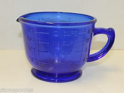 Cobalt Blue Depression Style Glass Mixing Bowl Measuring Cup 2 Cup Retro