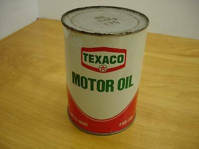 NOS Vintage Texaco Motor Oil Metal Steel Can One Quart SAE 10 Original Full #2