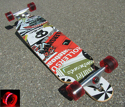 "Longboard 41 DROP RACE ABEC 11 Rot LED Skateboard ""TOP Qualität"" °43911"