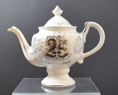 "Vintage Norcrest China K-402 25th Anniversary Porcelain Ceramic Teapot 8 1/2"" P6"