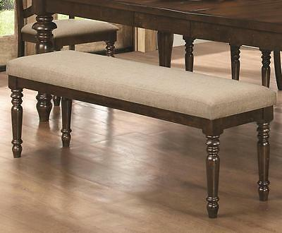 Hamilton Light Brown Upholstered Dining Bench with Turned Legs by Coaster 106353