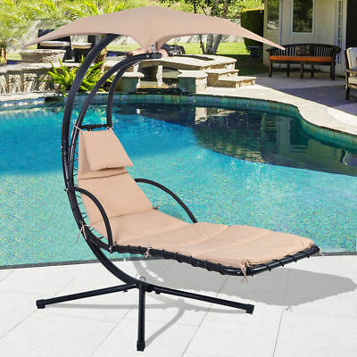 Hanging Chaise Swing Hammock Chair with Canopy for Lounge Patio Garden