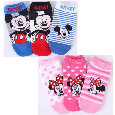 Disney Mickey Mouse Minnie Mouse Socks 3 Pairs Set Low Ankle Girls Boys Child