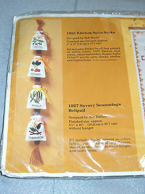 "The Creative Circle #1925 Kitchen Spice Sacks 1983 Embroidery Kit each 3"" x 4"""
