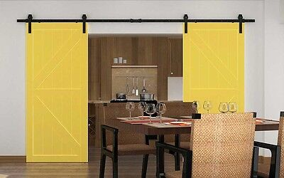 13ft Double sliding door hardware black bi-parting wood closet track kit