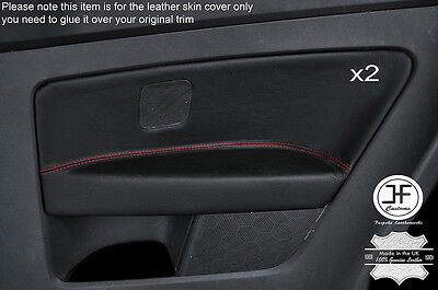 Red Stitch 2X Rear Door Card Trim Leather Covers Fits Vw Golf Mk5 V 04-09 3Dr