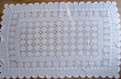 "Vintage Hand Crochet Tablecloth light Ivory Unused 70"" x 46"""