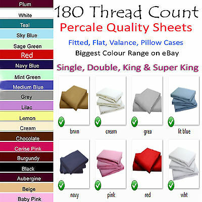Luxury Non-Iron Percal Fitted Plan Valance Sheet Single Double King & Super King