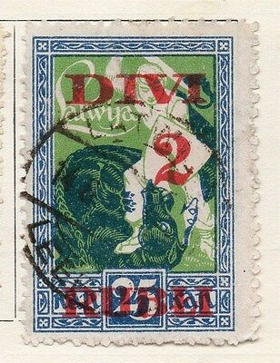 Latvia 1919-20 Early Issue Fine Used 2R. Surcharged 055097