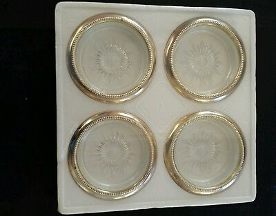 Vintage Leonard Silver Co. Four Piece Coaster Set No.840 Made in Italy