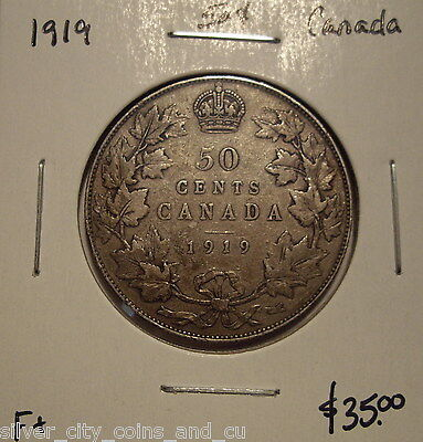 Canada George V 1919 Silver Fifty Cents - F+