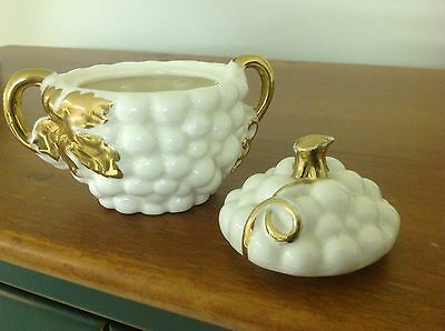 White Grape Cluster Sugar Bowl with lid - gold trim leaves - Japan - Ships free!