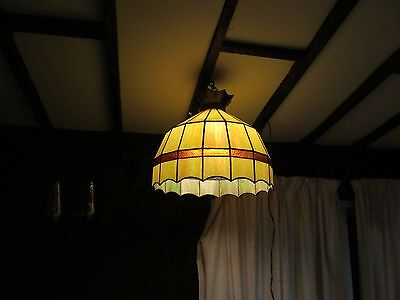 Architectural & Garden Stained Glass Slag Hanging Lamp 20Wx17H Leaf Green Exc Gl