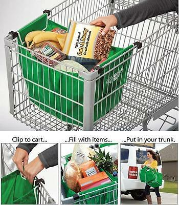 2pcs Foldable Tote Eco-friendly Reusable Large Trolley Supermarket Shopping Bags