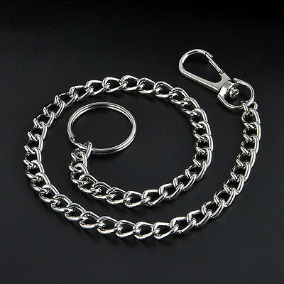 """15"""" Extra Metal Keyring Keychain Silver Chain Hipster Key Wallet Belt Ring Clip"""