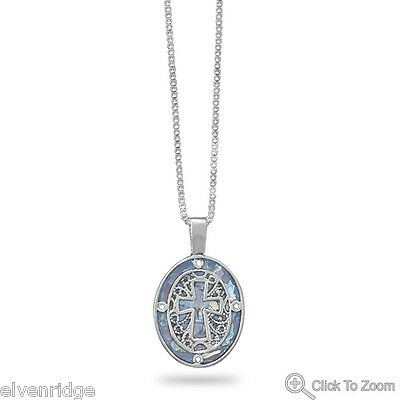 """18"""" Oval Ancient Roman Glass Cut Out Cross Necklace Sterling Silver"""