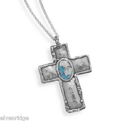 """18"""" Oxidized Cross with Roman Glass Necklace Sterling Silver"""