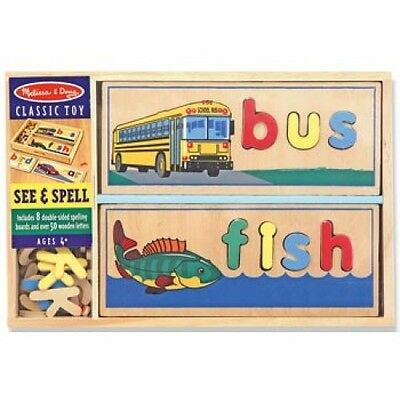 Melissa and Doug See & Spell Puzzle - Kids Wooden Learning Educational Toy Gift