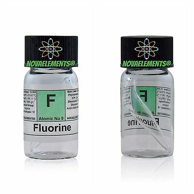 Fluorine gas element 9 sample under Helium in mini ampoule and glass vial+label