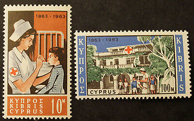 Timbre CHYPRE / CYPRUS Stamp -Yvert et Tellier n°215 et 216 (Cx Rouge)n**(Cyn23)