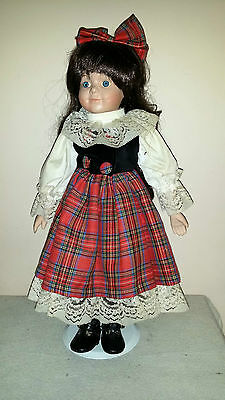 "Young Girl with Plaid Dress Doll 17"" with Stand"
