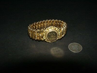 Vintage antique 1907 - THE AMERICAN QUEEN - gold plated - EXPANSION BRACELET