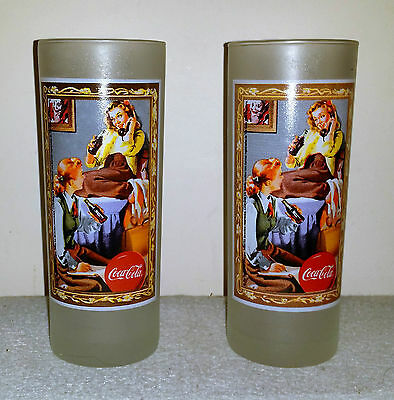 Set of 2 Coca-Cola Frosted Glasses