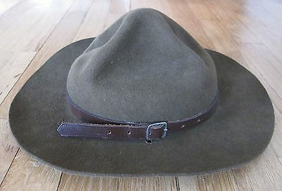 """Vintage """"Official"""" Boy Scout Brown Felt Wool Hat Size Small 6 /78"""