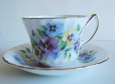 Delphine Pansies Vintage Bone China Cup & Saucer Made in England