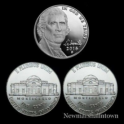 2016 P+D+S Jefferson Nickel Mint Proof Set ~ PD U.S. Coins from Bank Rolls