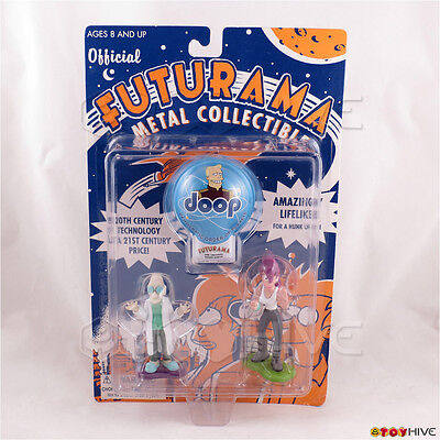 Futurama Professor Farnsworth and Leela clicker diecast metal figure set