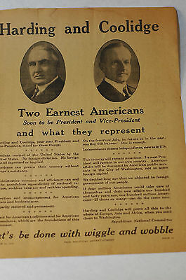 Harding and Coolidge Two earnest Americans October 1920 advertisment