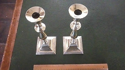 Pair of 19th Century Brass Candlestick Holders with Steel Ejector Rods c.1820
