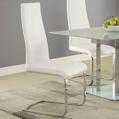 Geneva White Dining Chairs with Chrome Base by Coaster 104863 - Set of 4