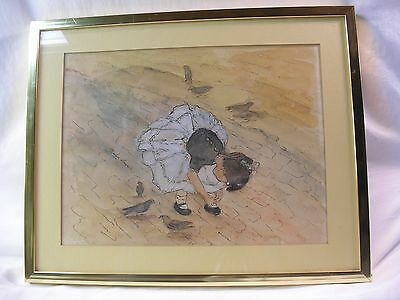 Vintage Framed Original Watercolor Painting Signed Marlyn Accursio Girl w Birds