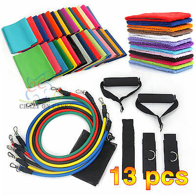 13 Resistance Tube Set Home Gym Fitness Exercise Workout Heavy Handles Yoga Band
