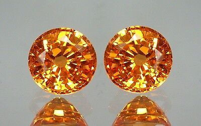 "Mandarin Garnets - ""Fanta"" Colour- Matched Pair - Spessartite"