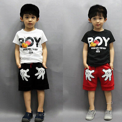 Mickey Mouse Boy Toddler Kids Cartoon Clothes T Shirt Shorts 2pcs Clothing Set