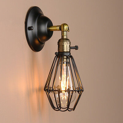 Art Deco Wall Lamp Vintage Industrial Bird Cage Wall Light Antique Brass Sconce